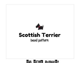 Brick Stitch Scottish Terrier Dog Beading Pattern, Miyuki Delica