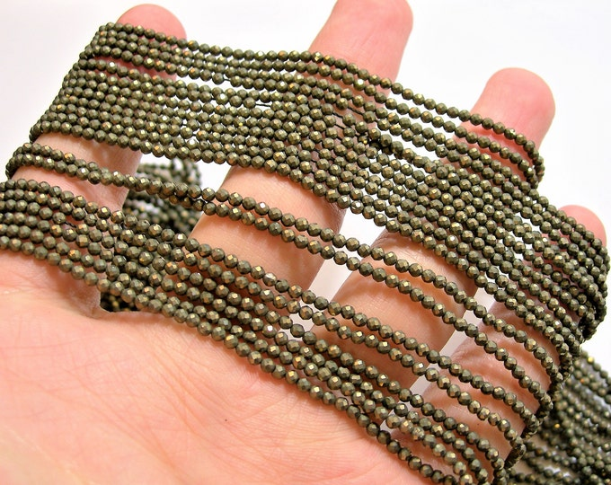 Pyrite 2mm - faceted round beads - 1 full strand - 175 beads - Pyrite - micro faceted - PG94