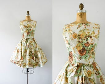 1950s Victorian Requite rose garden dress / 50s summer party