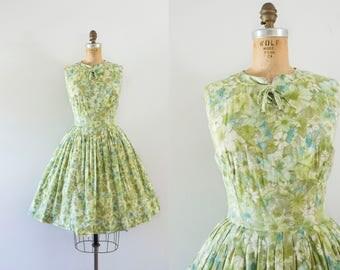 1960s Crisp Meadow cotton floral dress / 60s garden greens