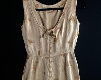Gold Satin Dress | 50s vintage extra small XS S womens mid century scoop back sleeveless boat neck womens mini wiggle shift dress satin gold