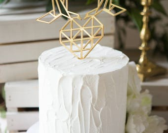 Geometric Wedding Cake Topper Birds and Heart Love Cake Topper Gold & Custom Colors Wedding Cake Decor Modern Geometric (Item - BGO800)