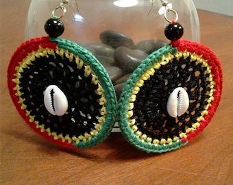 Rasta Crocheted Earrings with Seashells