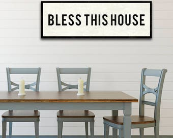 BLESS This House Sign Farmhouse Style Decor Christian Wall Art Dining Room