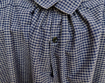 Handmade 100% sturdy cotton check man's shirt or over shirt, size X-Large, 19th century