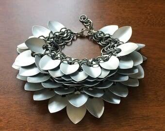 Ruffled Dragon Bracelet // dragonscale bracelet, scalemaille bracelet, chainmaille bracelet, feather bracelet, silver dragon bracelet, got