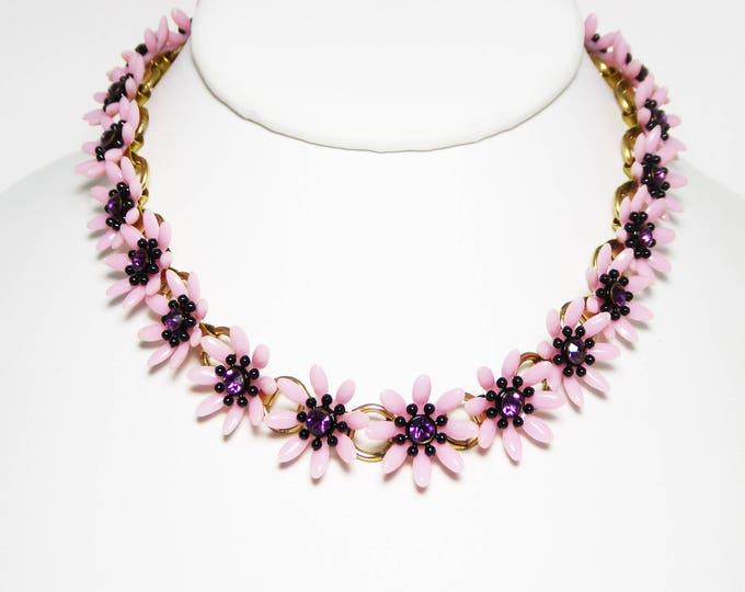 Pink Celluloid Daisy Flower Necklace Purple Rhinestone Centers, Mid Century Vintage 1940s 1950s Choker Style Plus a Bonus Earring
