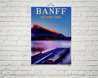 Large 18x24 Art Poster Canada Art Banff National Park Mountain Range Lake Scene Nature Art