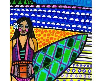 Hawaiian Surfer Girl by Heather Galler Original Painting American Folk Art Hawaii Beach Surfing Surfboard Ocean Island
