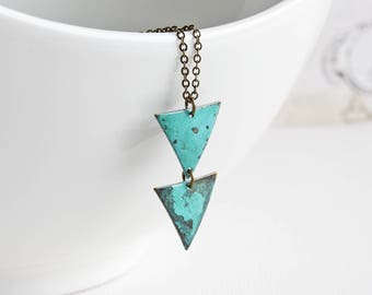 Blue Green Patina Necklace, Triangle Drop Necklace on Antiqued Brass Chain, Aqua Blue Pendant Necklace, Hand Patina Jewelry