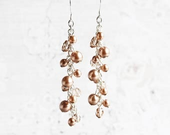 Cocoa Pearl Earrings, Brown Cluster Earrings on Silver Plated Hooks, Cascade Earrings, Wedding Jewelry