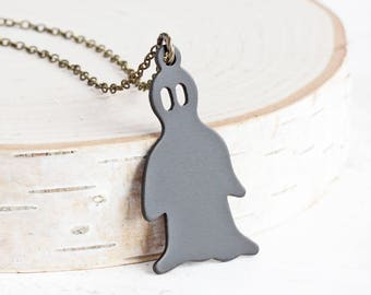 Oxidized Black Brass Halloween Ghost Necklace on Antiqued Brass Chain (Hand Patina)