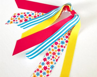 Pink and Yellow Spring Blossoms Ponytail Streamer