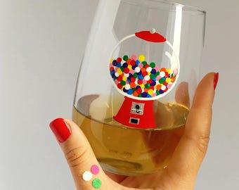 Nostalgic Gum Ball Machine Hand Painted Wine Glass