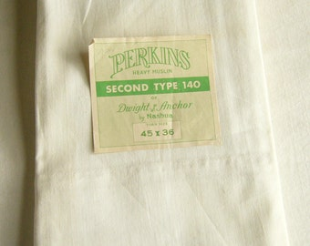 two vintage white muslin pillowcases, original labels, standard size pillowcases, made in USA