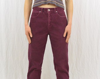 Vintage Magenta Corduroy Pants, Size Small, 90's Clothing, Grunge, Hipster, Tumblr Clothing