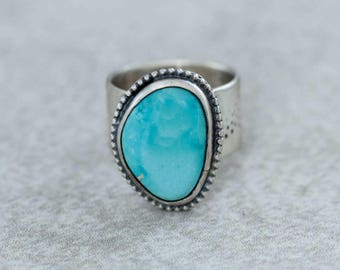 Turquoise Ring Arizona Turquoise in Sterling Silver Handmade Size 7.5