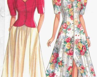 New Look 6527 Scalloped Neckline Dress Jacket Top Skirt Size 6 8 10 12 14 16 18 Uncut Vintage Sewing Pattern 1990's