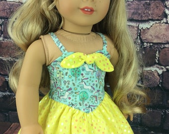 18 inch doll clothes AG doll clothes yellow sequin unicornl dress made to fit dolls like american girl doll clothes.