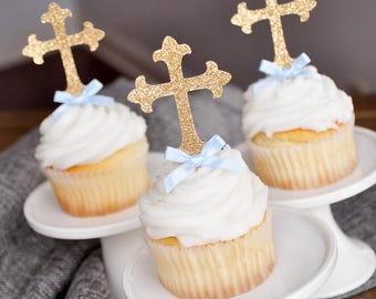 Baptism Decorations for Boys.  Handcrafted in 2-5 Business Days.  Christening Cross Cupcake Toppers 12 CT.