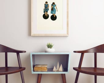 Surreal Portrait Print, Paper Collage, Black and Blue - Quicksand