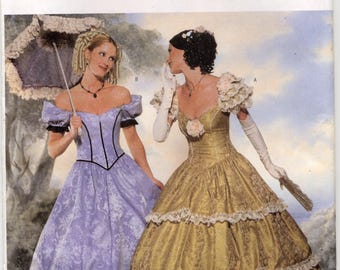 Misses Historical Civil War Dress - Southern Belle - Scarlet O'Hara's Dress Sewing Pattern -  Butterick 6195 - Size 6 - 8 - 10 - UNCUT