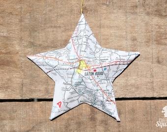 Baton Rouge Louisiana Vintage Map Covered Star Ornament La Home Decor