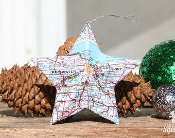 Rochester, New York - Vintage Map Covered Star Ornament -  Home Decor, East Coast, 3 Dimensional, Christmas, Map Ornament