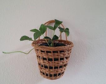 Wicker plant basket, hanging planter, vintage rattan light wood, FREE SHIPPING