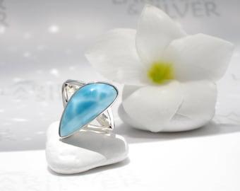 Larimar ring size 6.75 by larimarandsilver, Mermaid Style - aqua blue Larimar pear, blue drop ring, turtleback, water drop, teenager ring