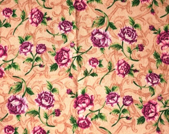 1/4 YARD, Rose Pink Tan Floral Print, Quilting Cotton Fabric, Imagine Print Concepts, 2927, Flowers Green Leaves, 21 x 17, B44