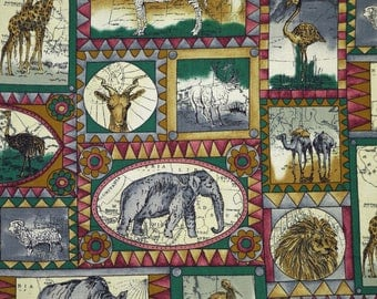 1/3 YARD, COTTON PRINT, Teak Gray Berry, African Animals, Quilting or Craft Fabric, Hi-Fashion, Square Oval Frames, 43 x 13, B44