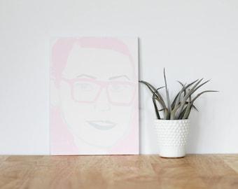 "pink wall art acrylic painting, ""sophia rossi"" - are you my bestie, flat 6x8 canvas, bffs, girlfriend, best friends, portrait, gift"