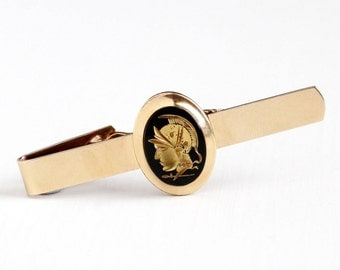 Sale - Vintage 10k Rosy Yellow Gold Filled Black Onyx Intaglio Soldier Tie Bar - Retro 1950s Gilded Warrior Cameo Van Guard Jewelry