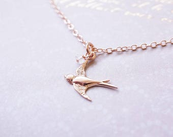 Necklace, Rose Gold Necklace, Bird Necklace, Swallow Necklace, CZ Necklace, Raw Crystal, Handmade Necklace, Bridesmaid Necklace, Gift