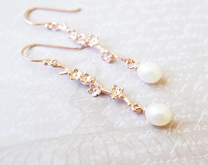 Featured listing image: Earrings, Rose Gold Earrings, Pearl Earrings, Flower Earrings, Dangle Earrings, Drop Earrings, Bar Earrings, Handmade Earrings, Gift for Her