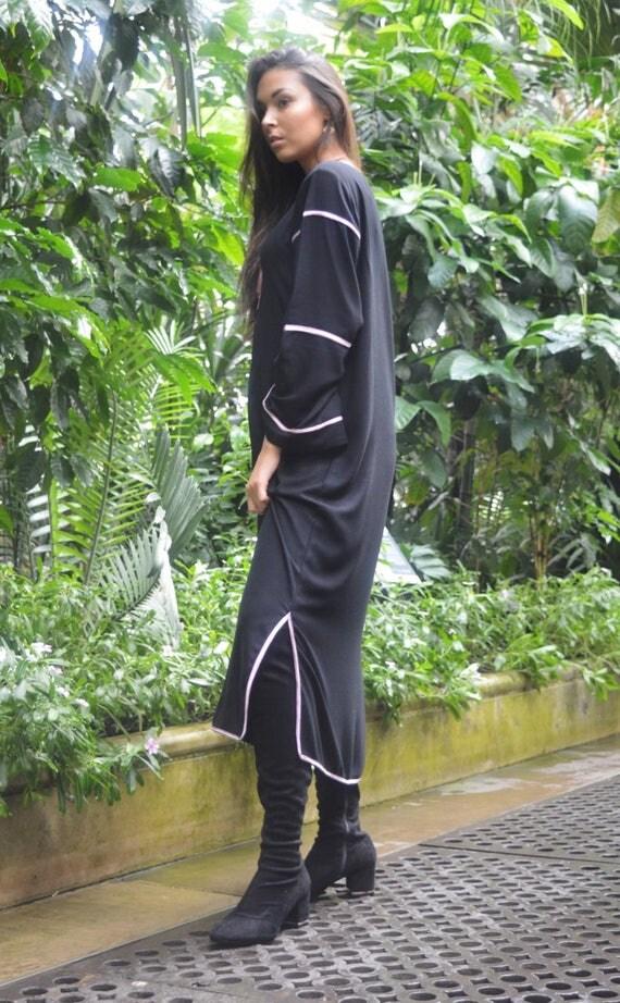 Kaftan, Caftan, Adriana Black & Lilac Kaftan Long, Moroccan Kaftan, maxi dress, beach cover ups, beach dress, plus size, winter dress, gift