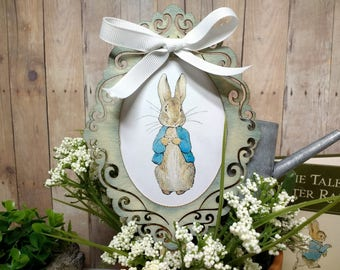 Deluxe MOPSY or PETER Rabbit Cake Topper - Victorian Woodcut Frame Cake Topper or Floral Arrangement Focal