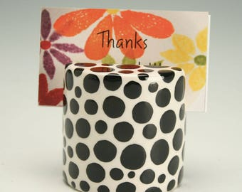 Business Card Holder for Desk, Polka Dot Ceramic Photo, Card, Postcard Holder, Polka Dots Card Holder, Polka Dot Ceramics