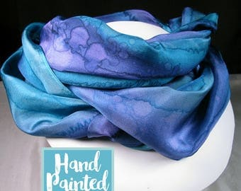 Silk Scarf - Purple scarf, Hand Painted Silk Scarf, OOAK Scarf, Unique Gift Scarf - Purple Teal Scarf