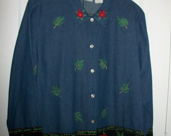 Christmas Denim Long Sleeve Blouse with Red Poinsettias Womens Plus Size by Nanas Vintage Shop on Etsy