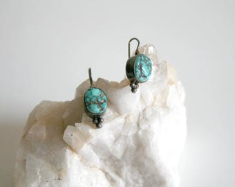 Nepalese Raw Turquoise Sterling Earrings