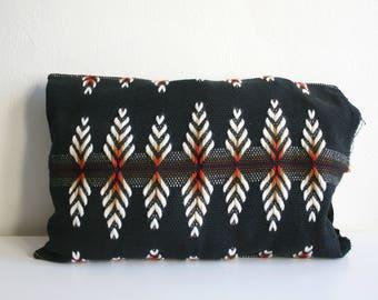 Retro Black Woven Wool Pillow
