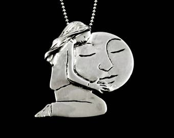 Sterling Moon Jewelry, Moon Jewelry Gift For Women, Sterling Moon Pendant, Robin Wade Jewelry, Elizabella Is Holding The Moon, Pendant, 2465