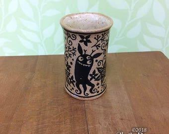 Monsters in the Garden Cup - stoneware ceramic drinkware artwork fantasy tentacles octopus