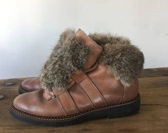 Vintage Brown Leather Fur Ankle Boots, Lace Up Booties, Fall/Winter Boots, Leather Sneakers, Chukka Boots, Size 6