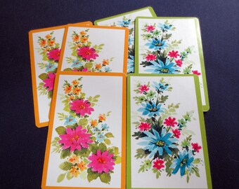 6 Pink & Blue Spring Flowers Vintage Playing Cards, 3 Pink, 3 Blue Sprigs