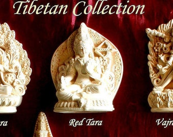 RED TARA   ALTER  sculptures 3 inches inch ivory finish --buddha +