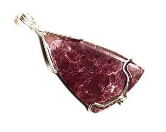 Dumortierine Necklace, Pink Dumortierine Pendant in Sterling Silver, Rare Red Nevada Dumortierite, Rose Quartz Gemstone Jewelry Gift For Her
