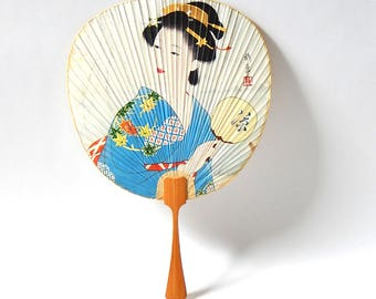 Vintage Hand Fan Geisha Girl Hand Fan / Vintage 1970s Japanese Hand Fan Paper and Bamboo Hand Fan / Vintage Japanese Collectibles Paper Fan